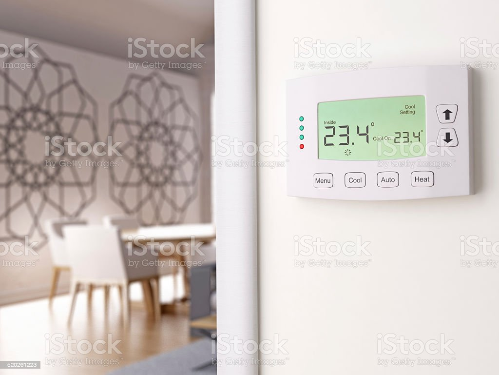 Digital Thermostat stock photo