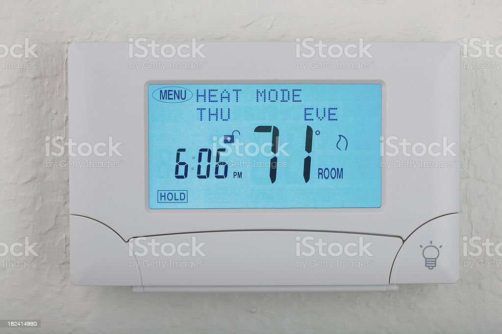 digital thermostat with glow light royalty-free stock photo