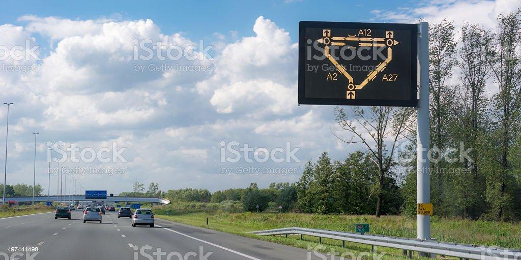 Digital traffic display on dutch highway stock photo