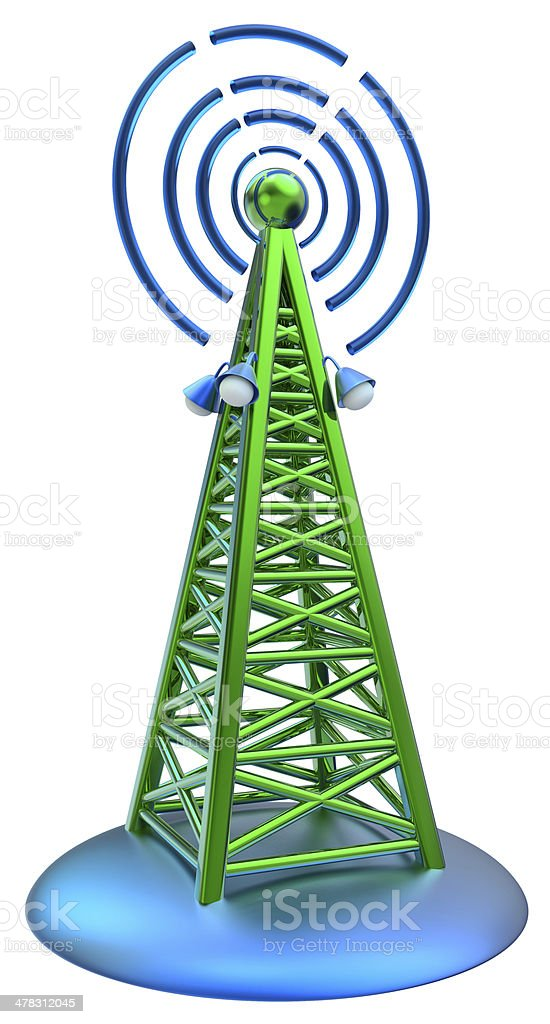 digital transmitter sends signals from high tower royalty-free stock photo