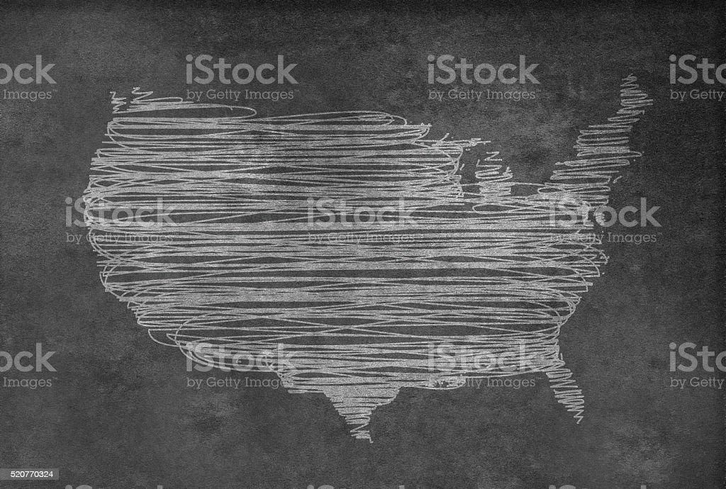 Digital USA map on a blackboard stock photo