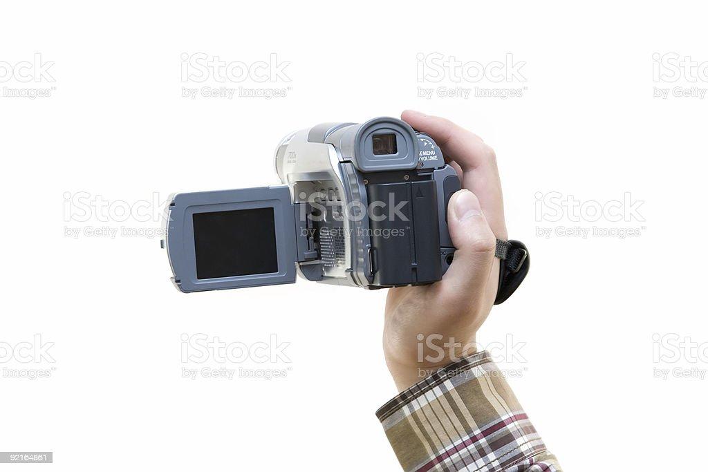 digital video camera in hand stock photo
