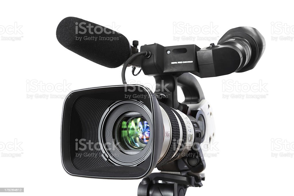 Digital Video camera on white background stock photo