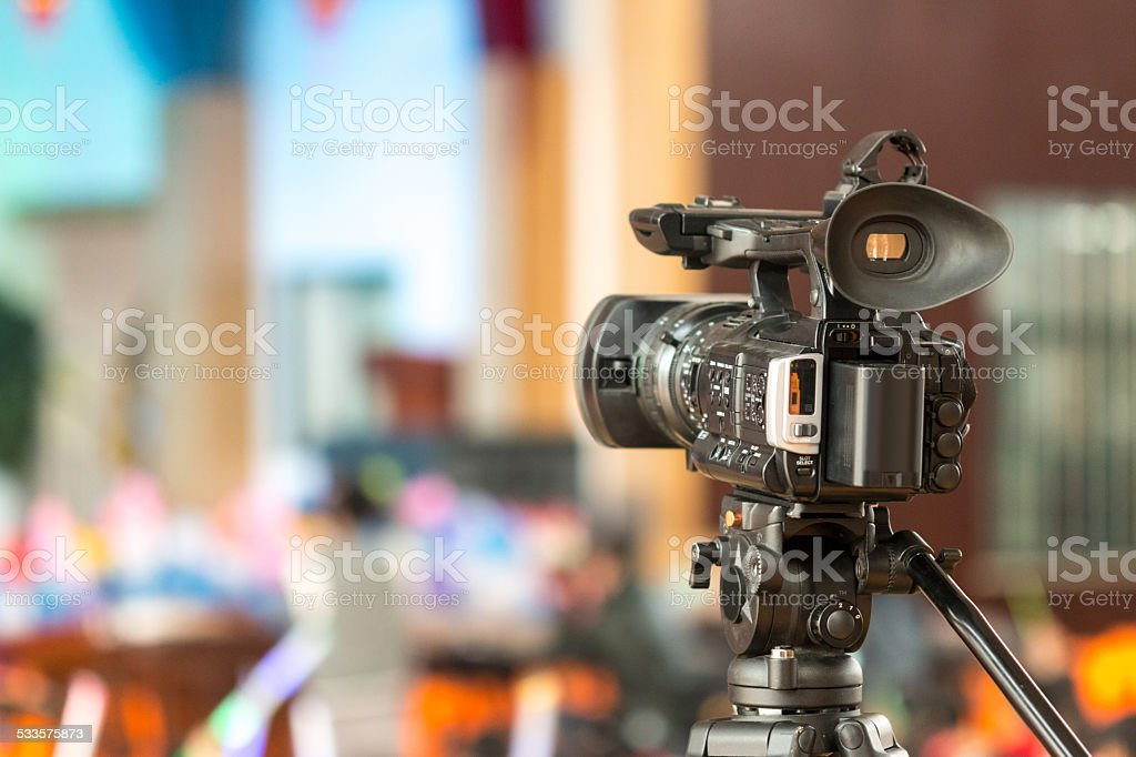 digital video camera  with celebration background stock photo