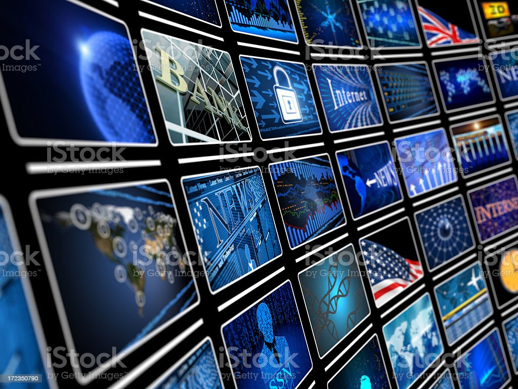 Digital Video wall with screens royalty-free stock photo