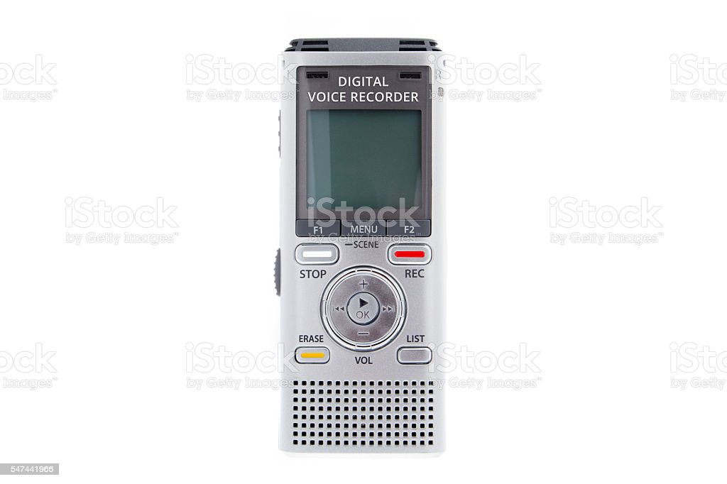 Digital voice recorder, dictaphone on white background stock photo