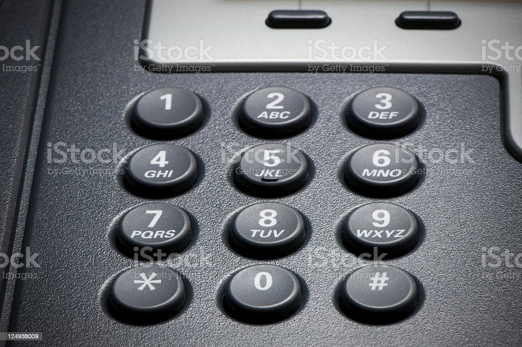 Digital VoIP conference phone, keypad close-up stock photo