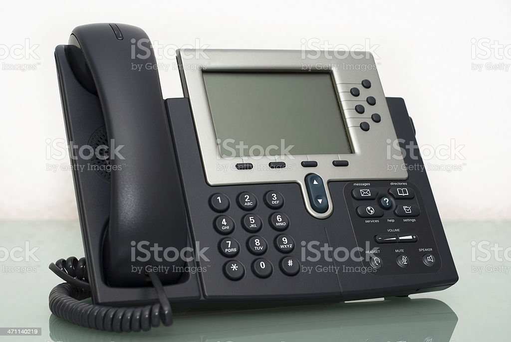 Digital VoIP phone, white background royalty-free stock photo