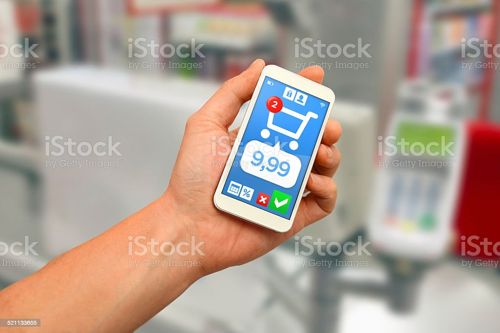 Digital wallet: mobile payment with smartphone stock photo