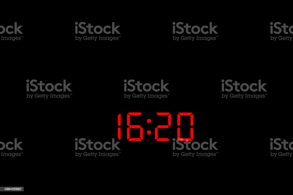 Digital Watch 16:20 stock photo