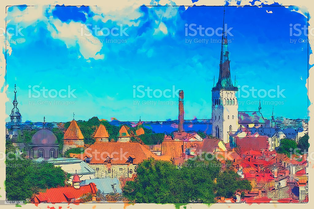 Digital Watercolour Art by Tallinn stock photo