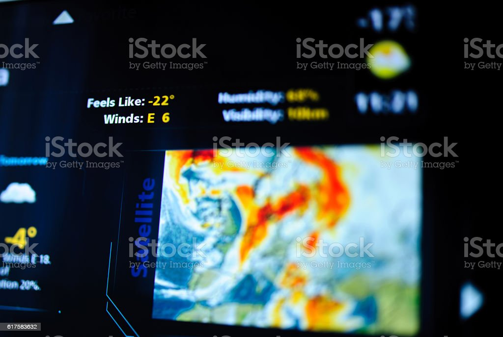 Digital weather forecast interface stock photo
