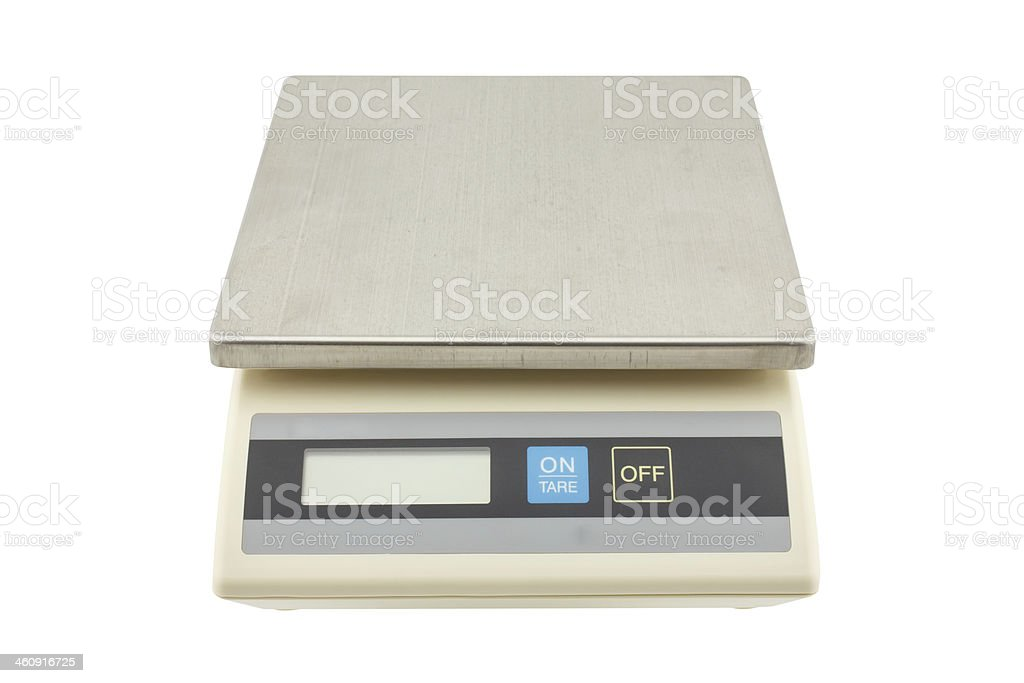digital weights scale , electronic scales on white background stock photo