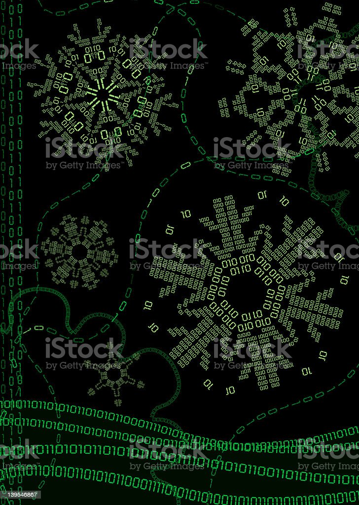 Digital Winter with Binary Snowflakes - Vertical stock photo