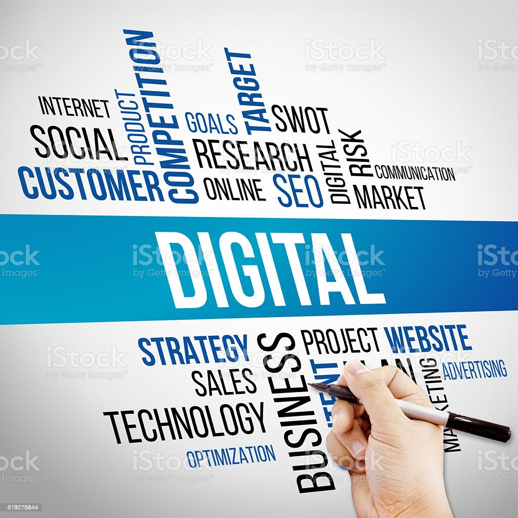 Digital Word Cloud, business Concept stock photo