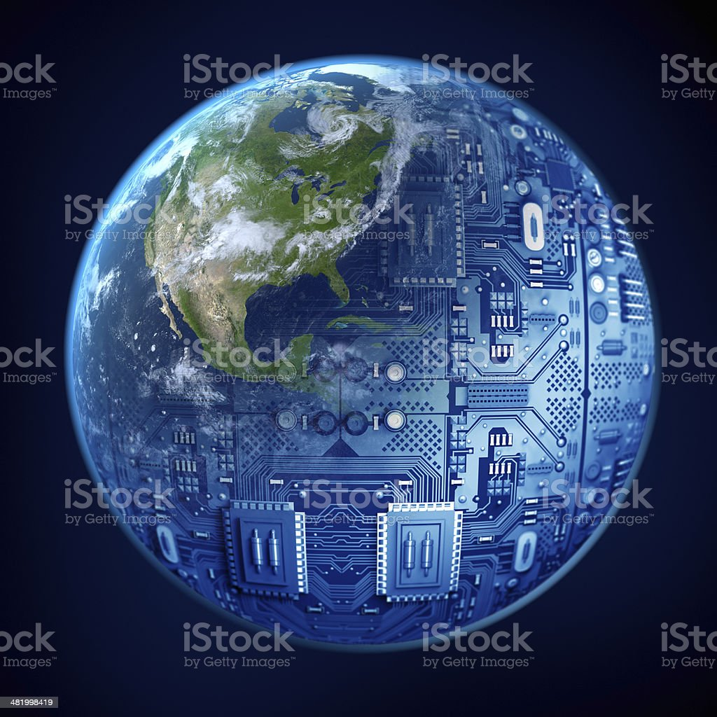 Digital World: Earth with circuits stock photo