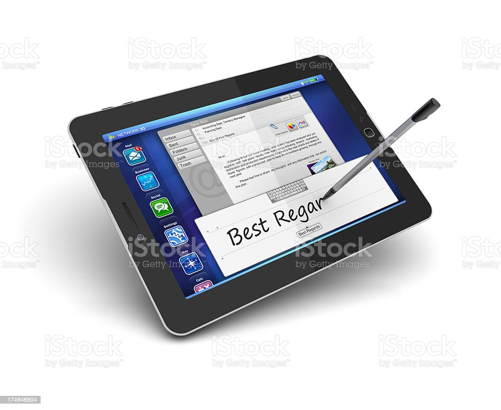 digital writing and drawing with stylus pen on tablet pc stock photo