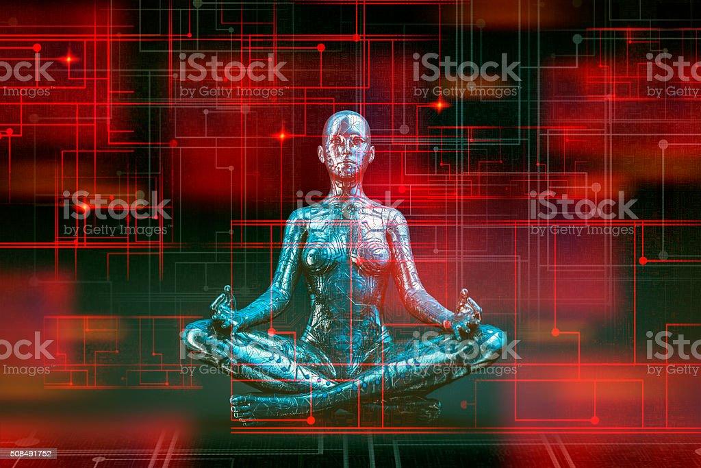 Digital zen of the future stock photo