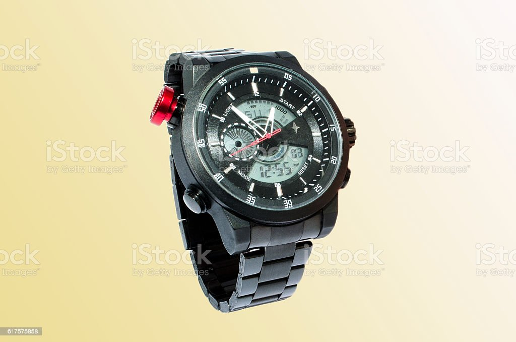 Digital-analog watch isolated royalty-free stock photo