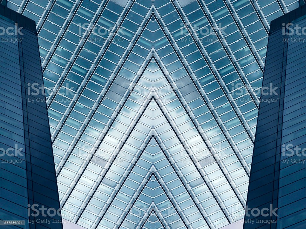 Digitally altered photo of office building fragment stock photo