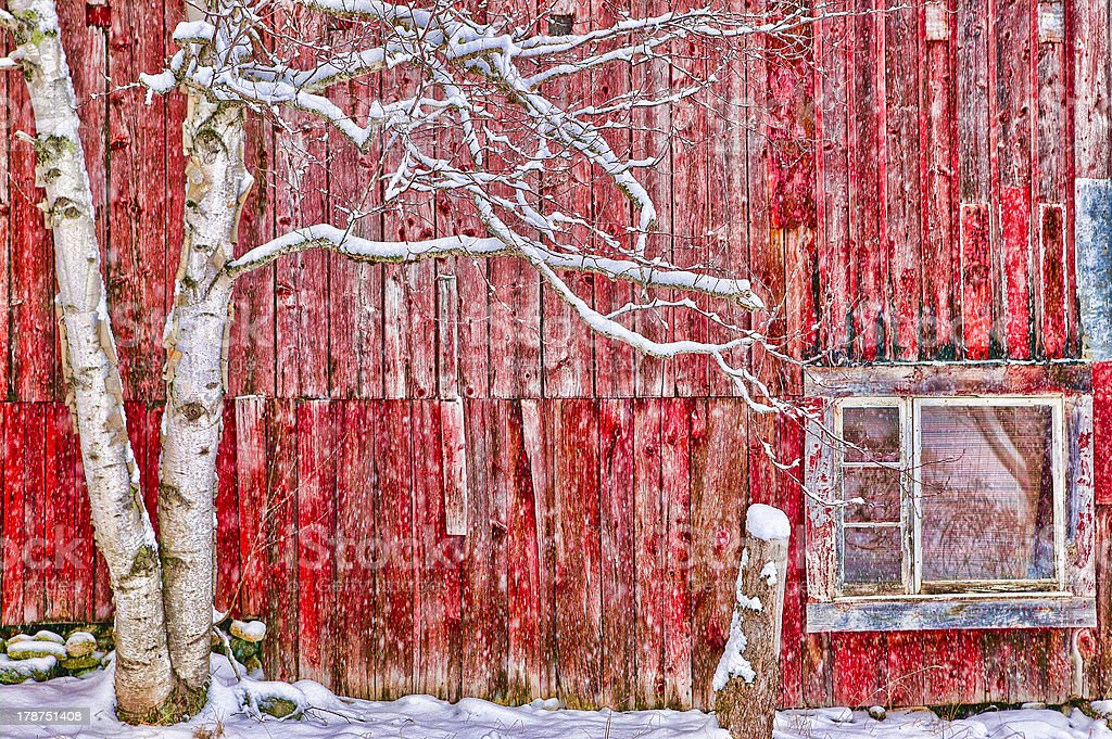 Digitally altered red barn. royalty-free stock photo