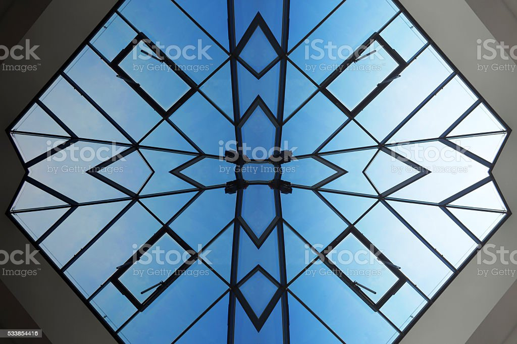 Digitally generated glass ceiling. Realistic but unreal architectural fragment. stock photo