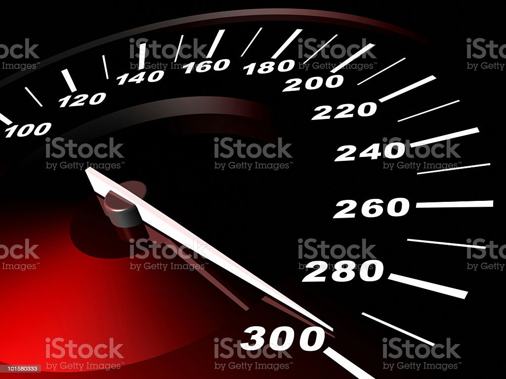 3D digitally generated image of speedometer stock photo