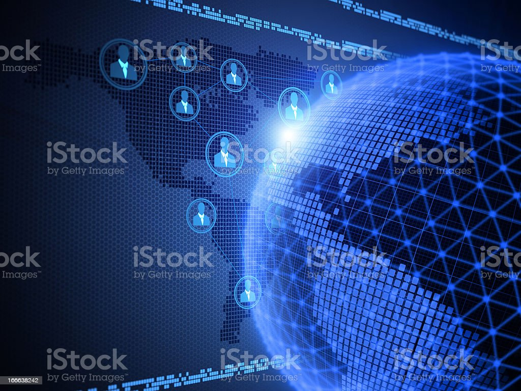 Digitally generated network globe and people royalty-free stock photo