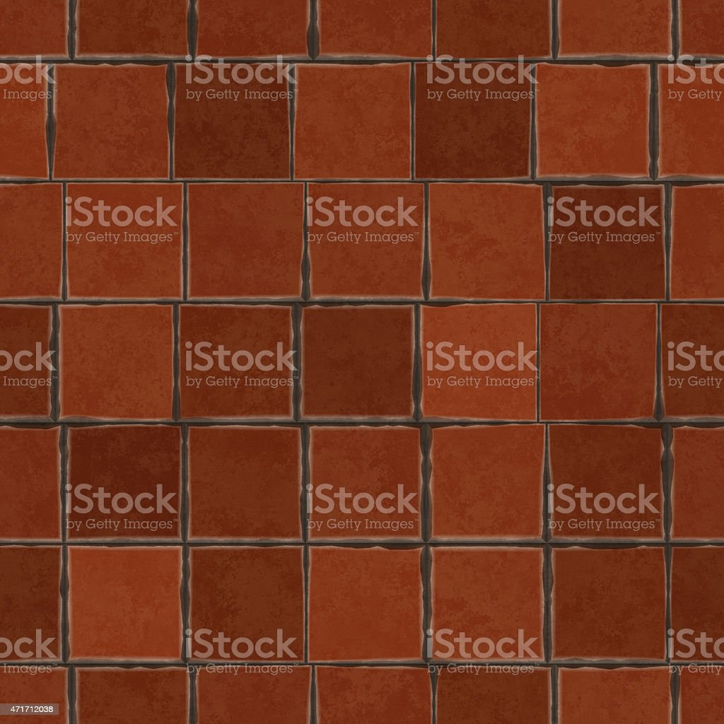 Digitally generated non-realistic seamless old clay tile pattern stock photo