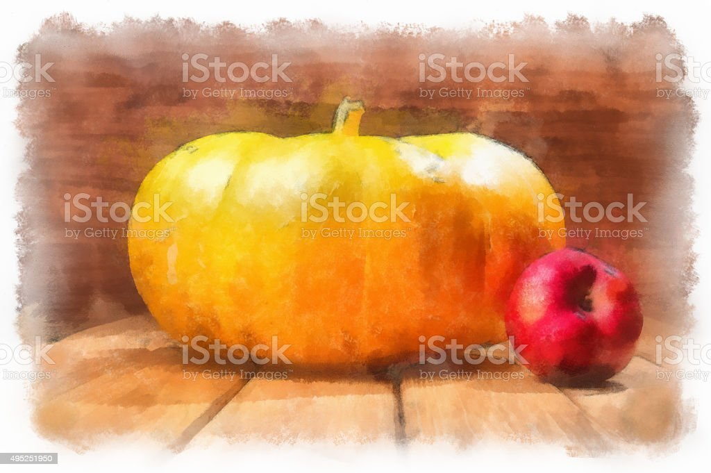 Digitally modified image. Pumpkin and apple. Watercolor painting stock photo
