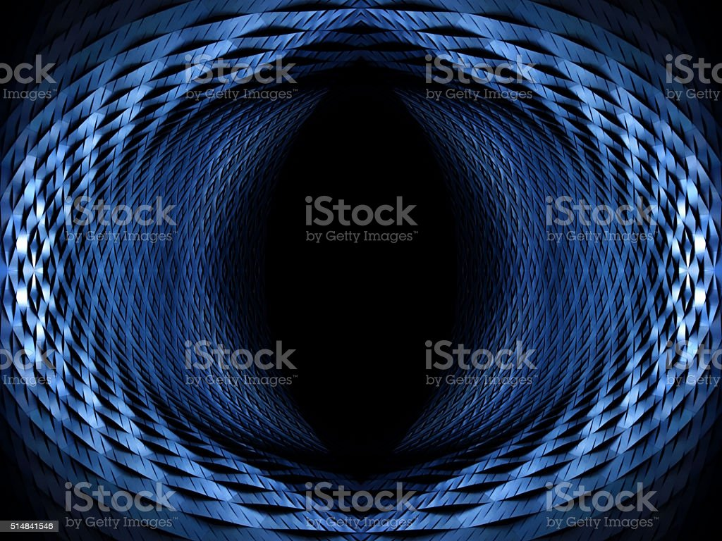 Digitally rendered composition resembling eye, eyeglass or futuristic tunnel portal stock photo