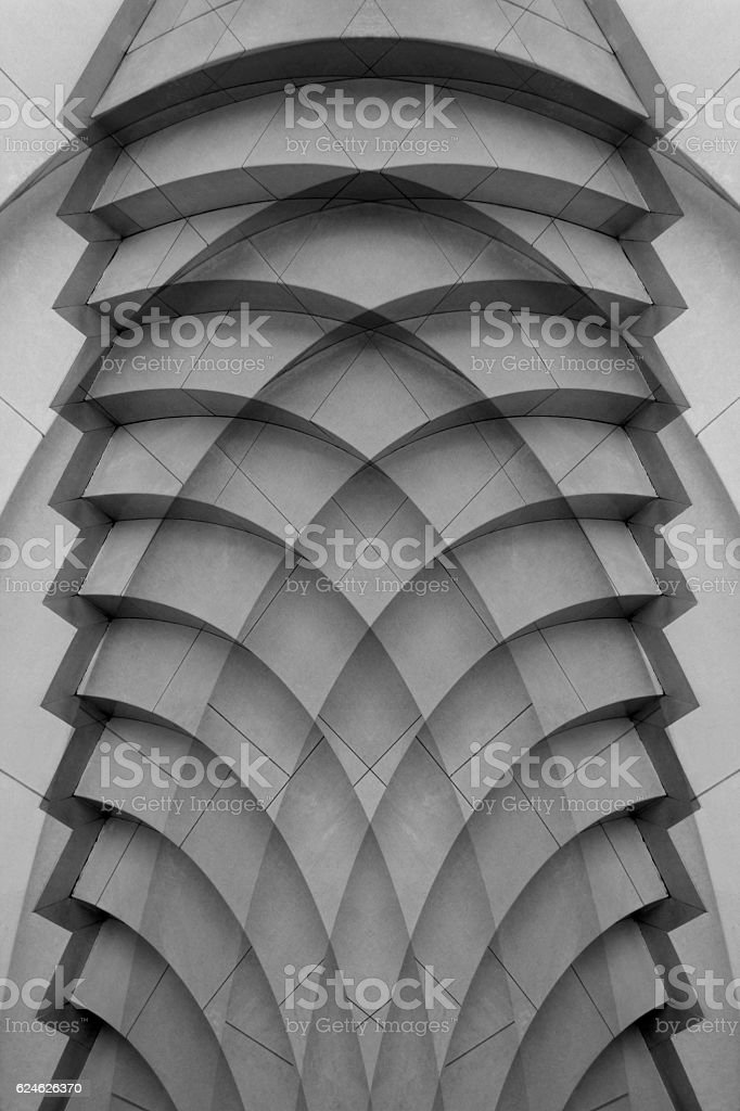 Digitally rendered image of decorative wall panel with stair-step structure stock photo