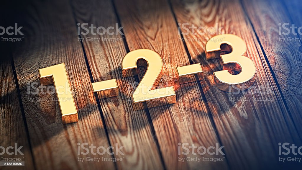 Digits 1-2-3 on wood planks stock photo