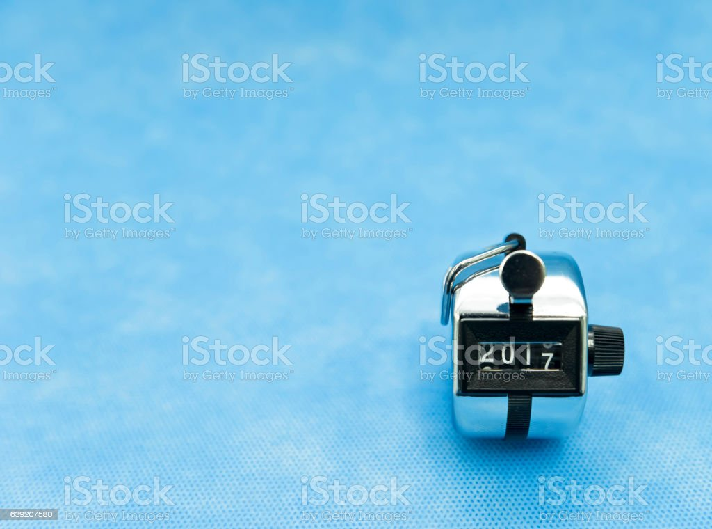 Digits number in clicker between 2016 and newyar, 2017 stock photo