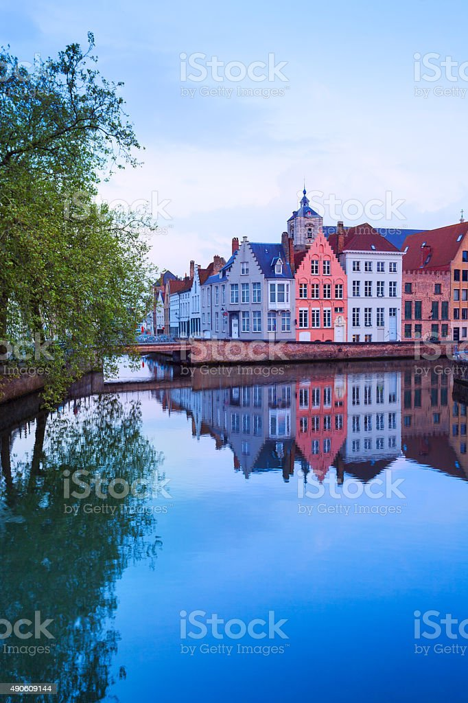 Dijver Spiegelrei street view from river in Bruges stock photo