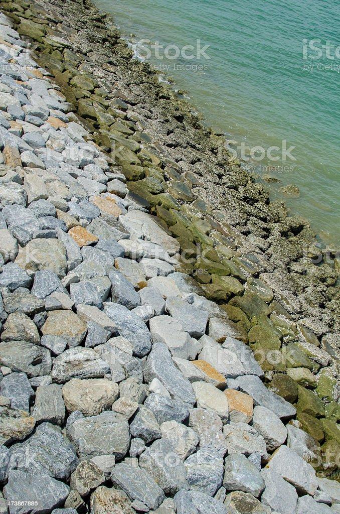 Dike along the Sea stock photo