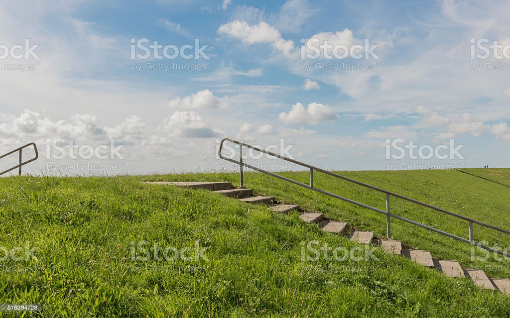 Dike and Stairs Texel stock photo