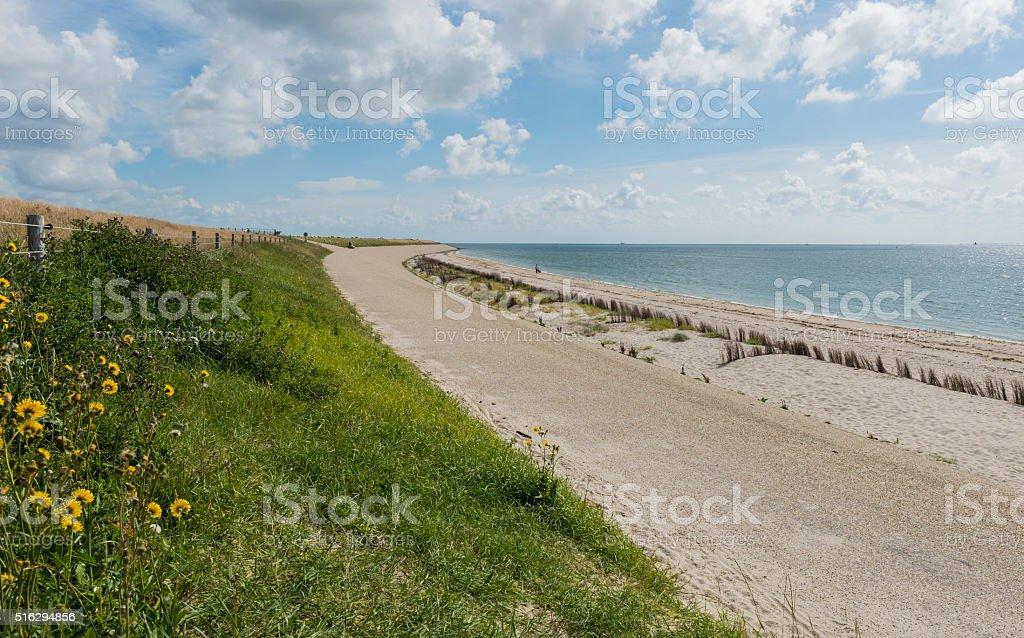 Dike at Wadden Sea stock photo