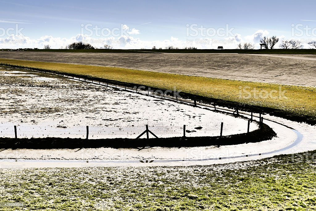 Dike in The Netherlands. stock photo