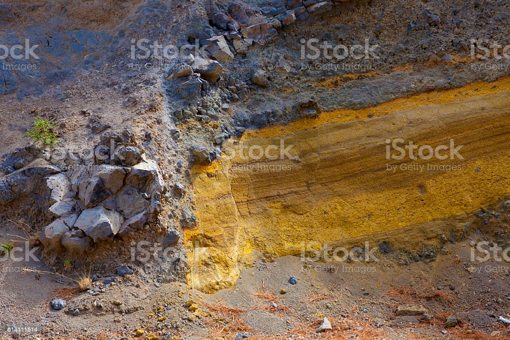 Dike in Volcanic ashes  - Teides' Natural Park stock photo