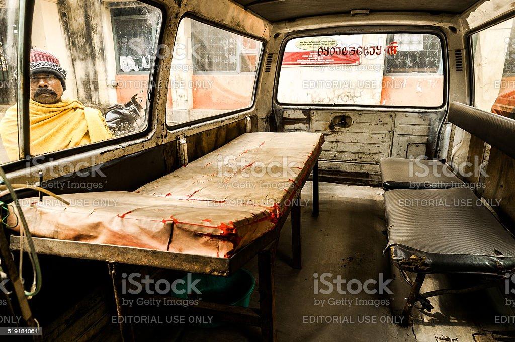 Dilapidated ambulance in Nepal stock photo