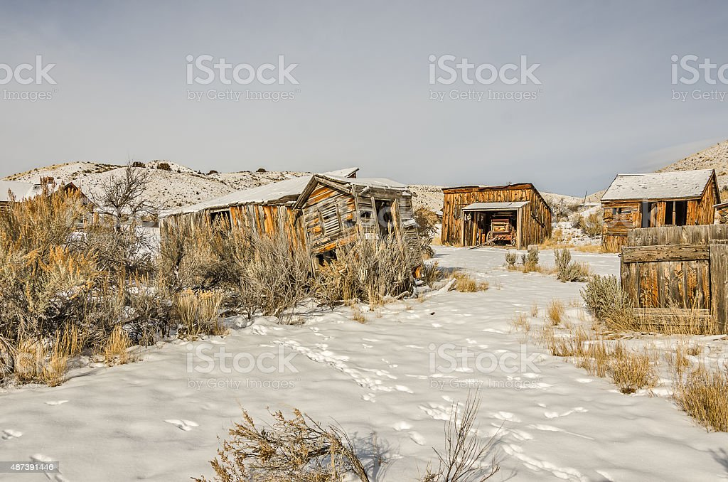 Dilapidated and Weathered Buildings in a ghost town stock photo