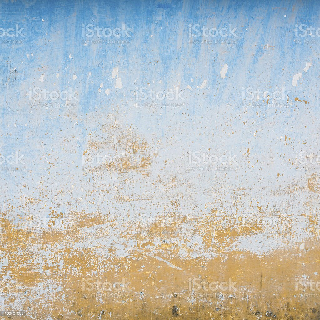 Dilapidated beige and blue wall texture royalty-free stock photo