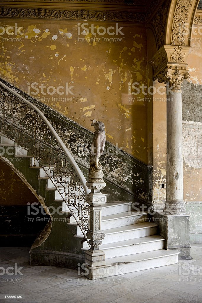 Dilapidated Grand Staircase royalty-free stock photo