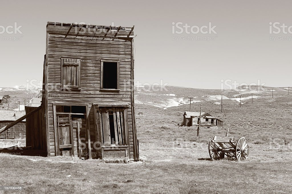 A dilapidated house in an old ghost town stock photo