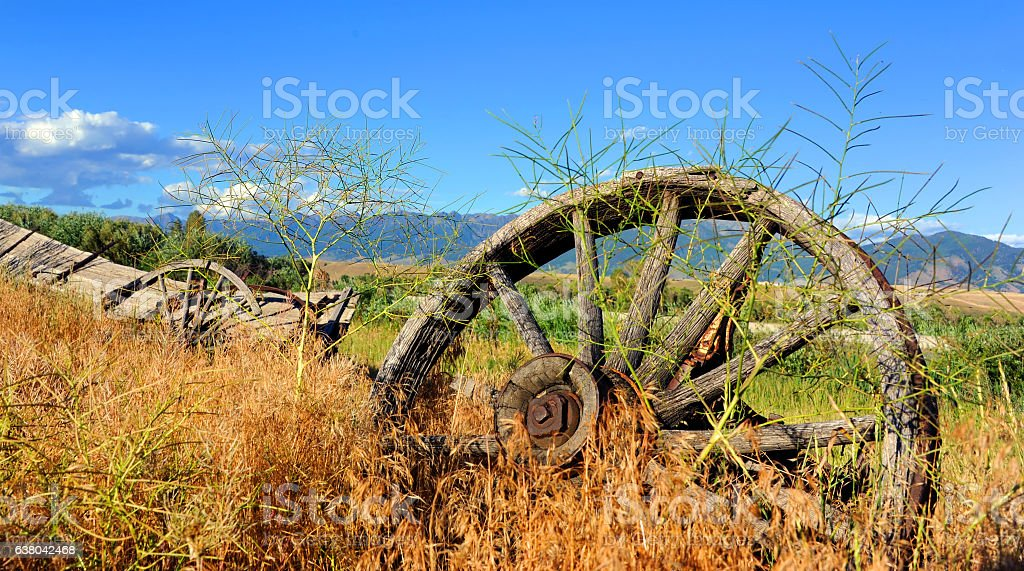 Dilapidated Old West Wagon stock photo