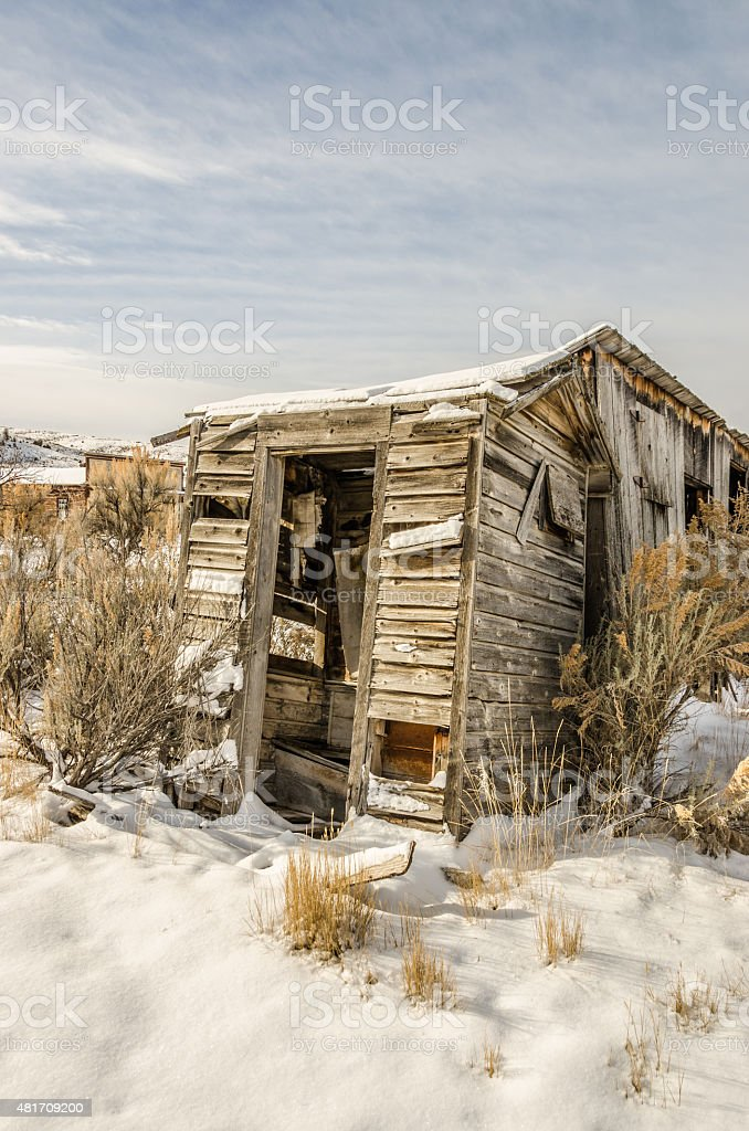 Dilapidated Outhouse stock photo