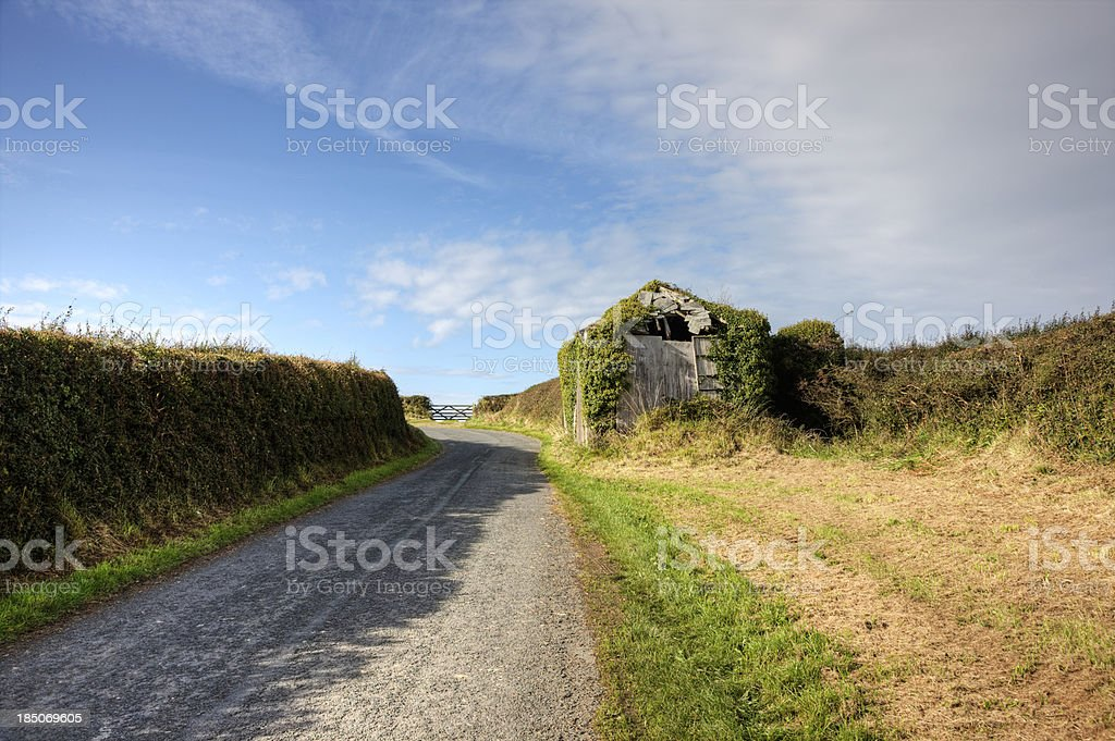 Dilapidated shed on country lane royalty-free stock photo