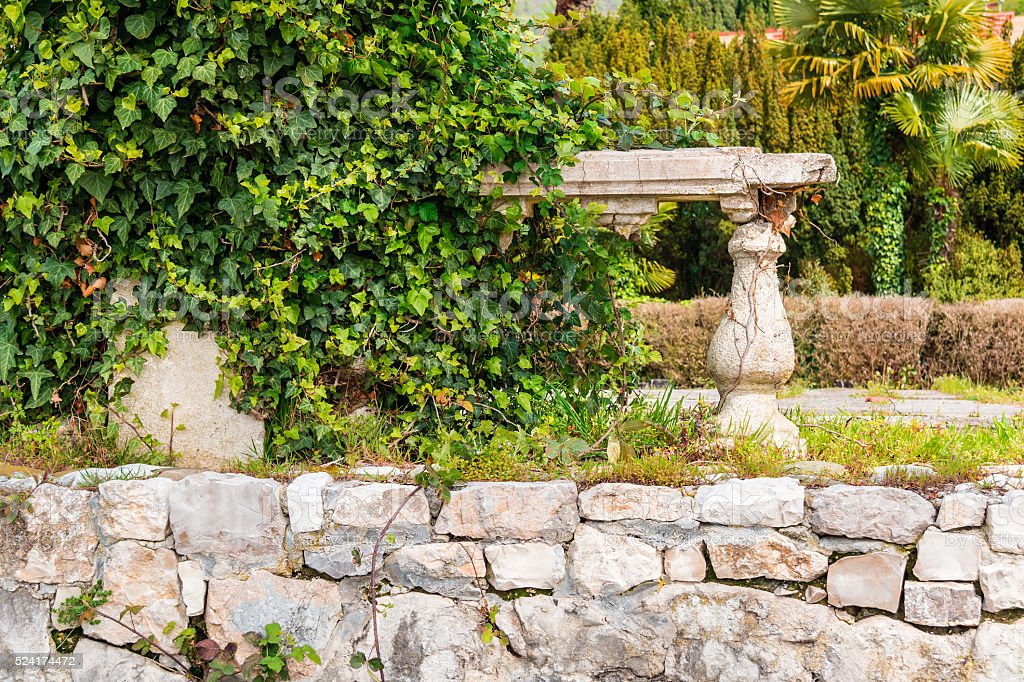 Dilapidated stone wall with bushes stock photo
