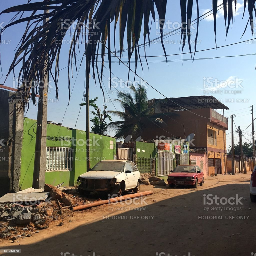 Dilapidation and decay in Luanda streets stock photo